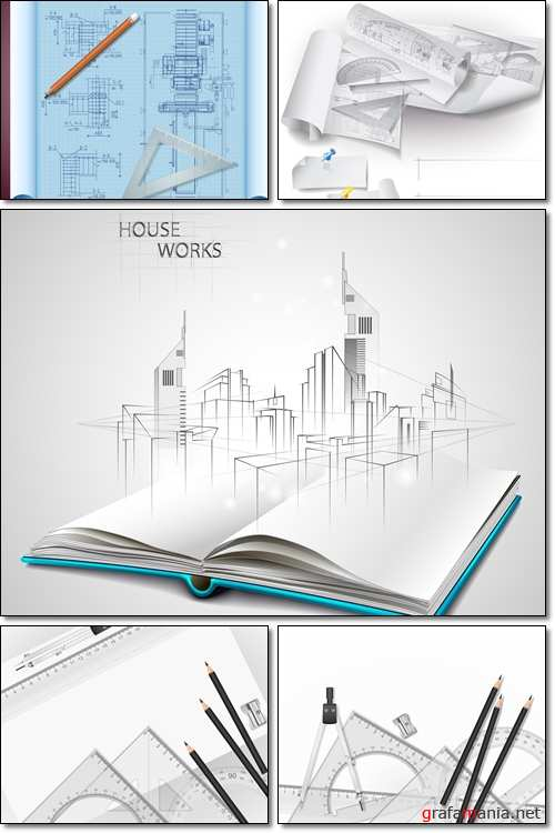 Drawing tools. Architect's paper with pencils - Vector