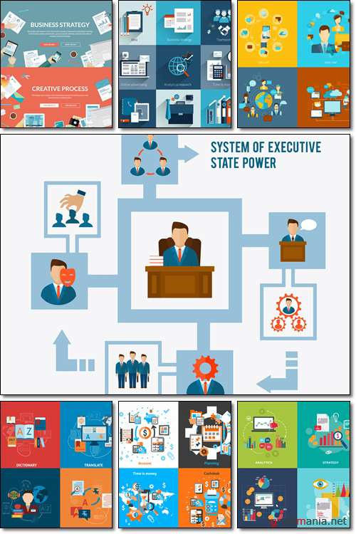 Flat design concepts for business strategy and creative process - Vector