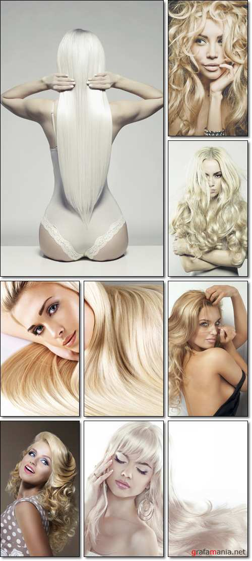 Hair conceptuals. Beautiful young woman with long blond hair. Pretty model poses - Stock photo