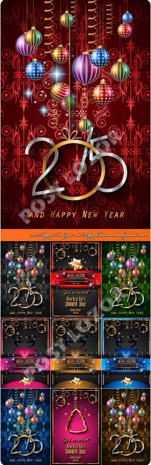 2015 Happy New Year and Happy Christmas background vector