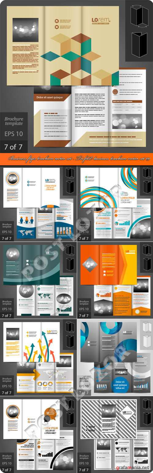 Бизнес флаер брошюра из трёх страниц 09 | Business flyer brochure vector set - Tri fold business brochure vector set 09