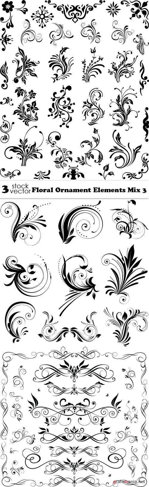 Vectors - Floral Ornament Elements Mix 3