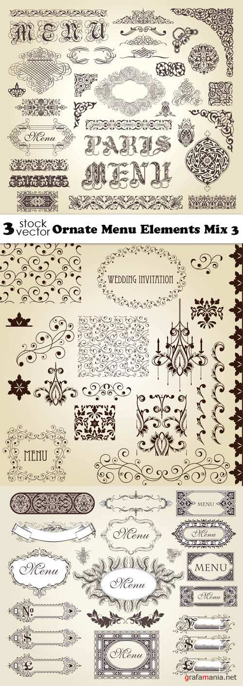 Vectors - Ornate Menu Elements Mix 3