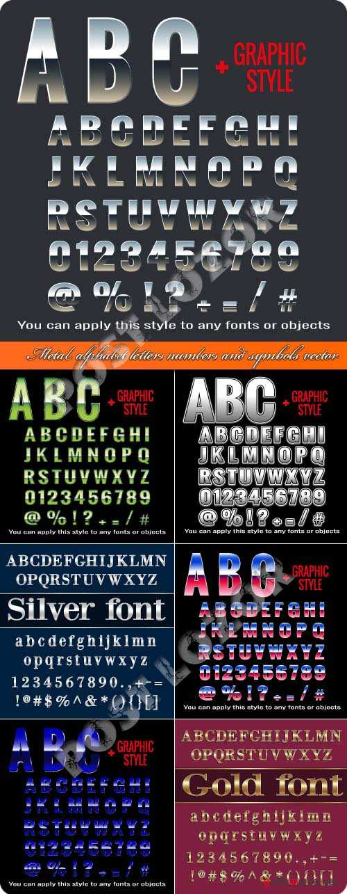 Metal alphabet letters numbers and symbols vector