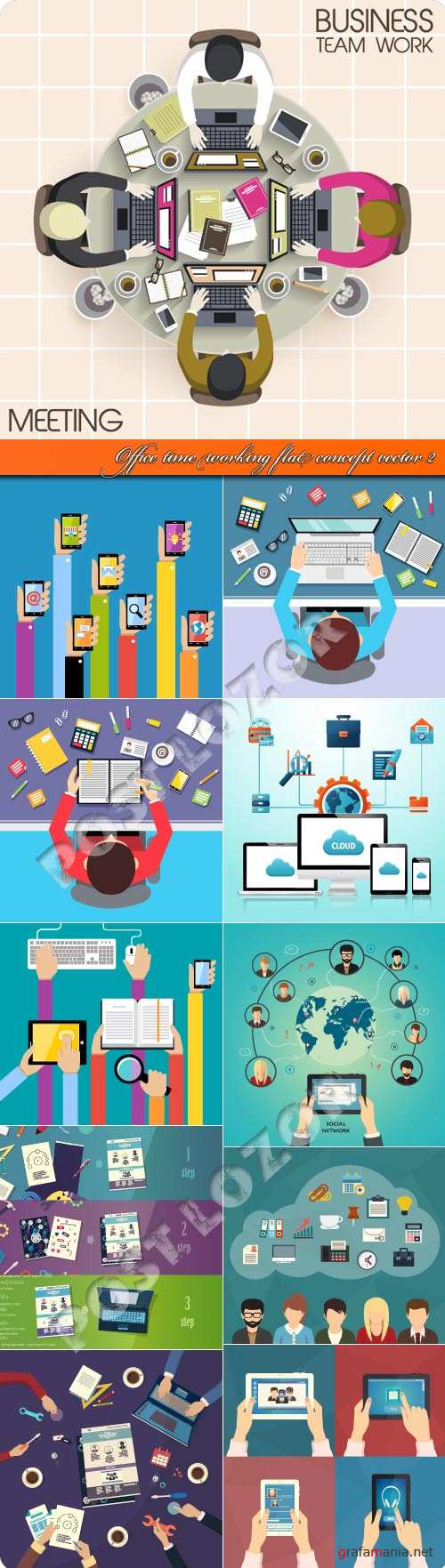 Office time working flat concept vector 2