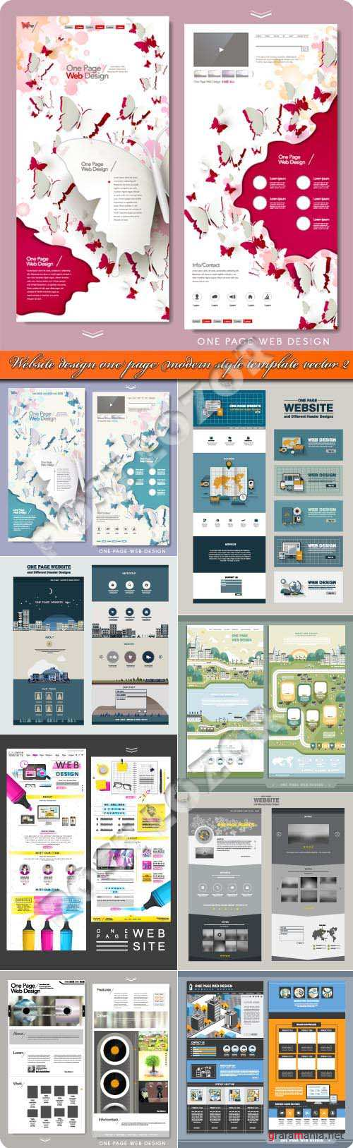 Website design one page modern style template vector 2