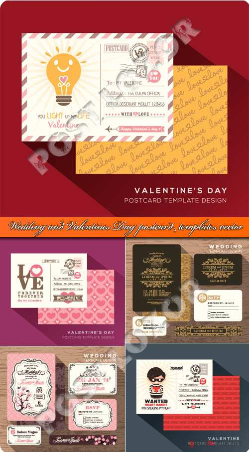 Wedding and Valentines Day postcard templates vector