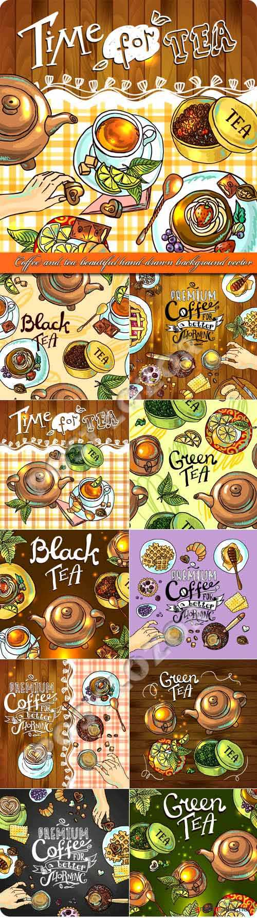 Coffee and tea beautiful hand-drawn background vector