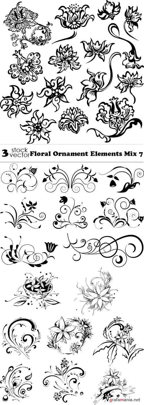 Vectors - Floral Ornament Elements Mix 7