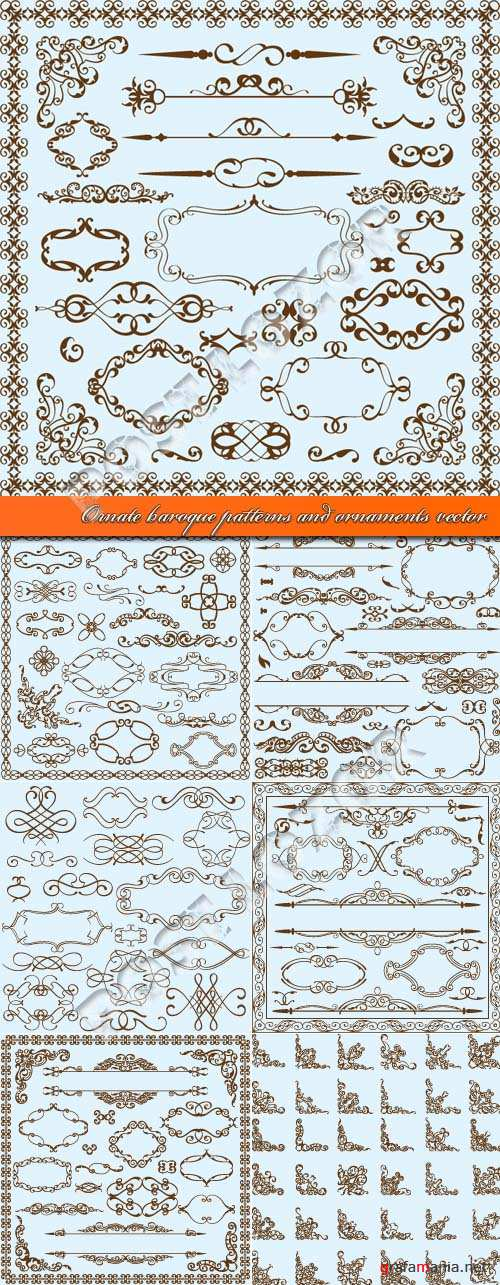 Ornate baroque patterns and ornaments vector