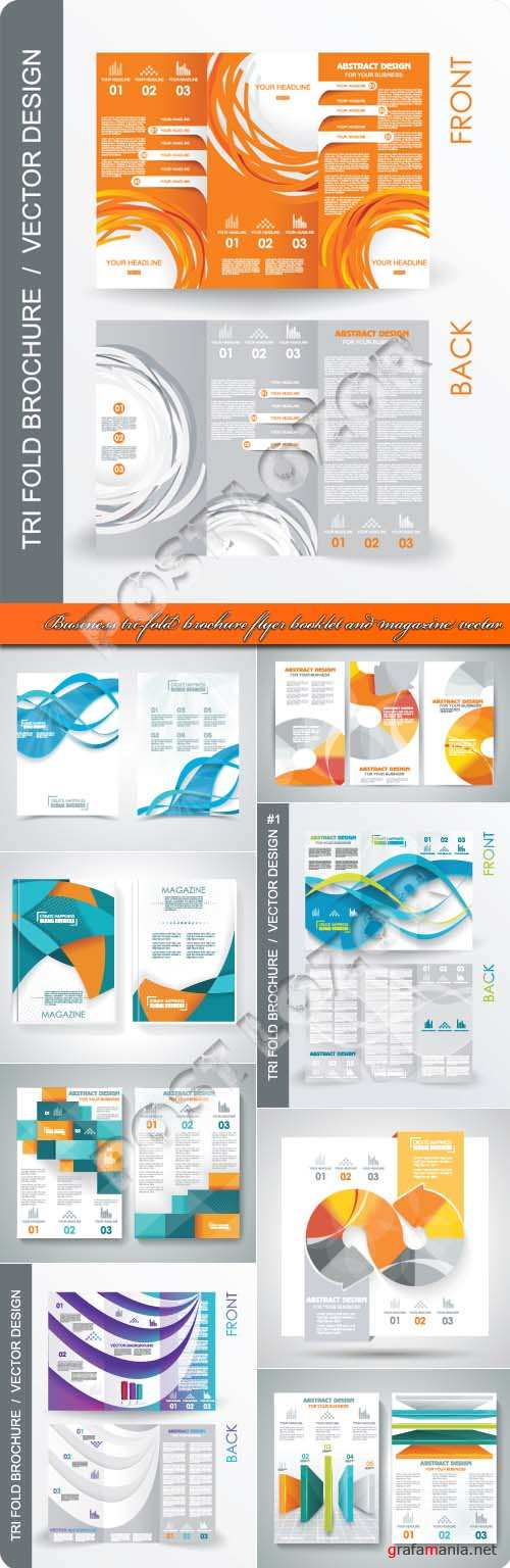 Business tri-fold brochure flyer booklet and magazine vector