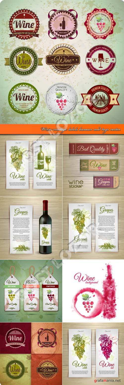 Wine vintage labels banner and tags vector