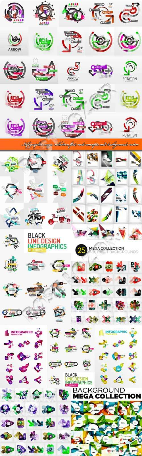 Infographic mega collection flat web concepts and backgrounds vector