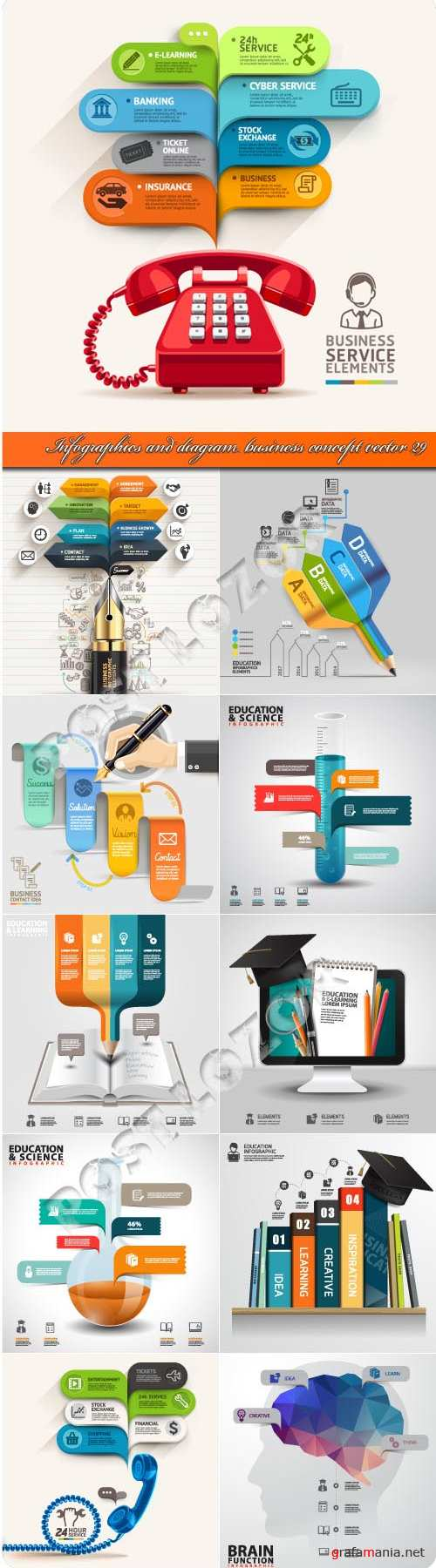 Infographics and diagram business concept vector 29