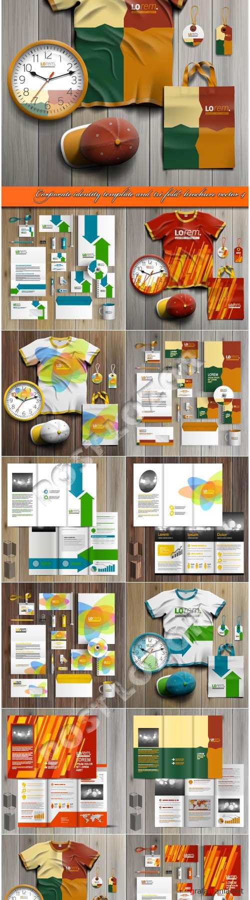 Corporate identity template and tri-fold brochure vector 4