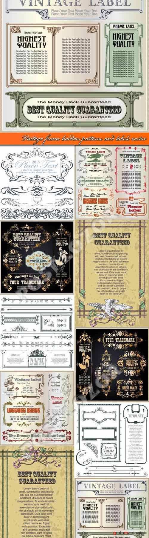 Vintage frame borders patterns and labels vector