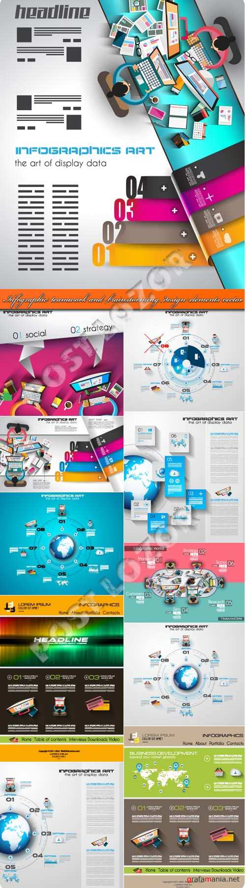 Infographic teamwork and brainstorming design elements vector