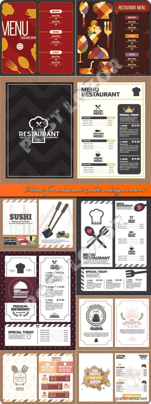 Menu for restaurant modern design vector 7