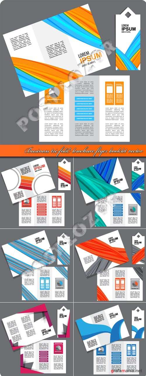 Business tri-fold brochure flyer booklet vector