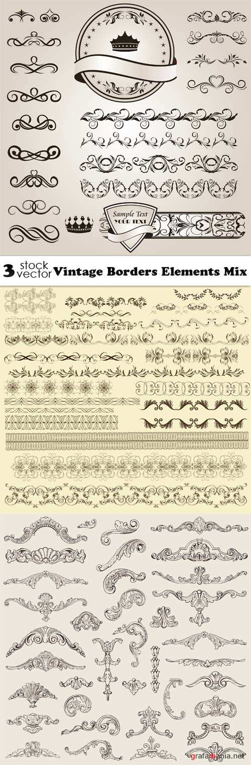 Vectors - Vintage Borders Elements Mix