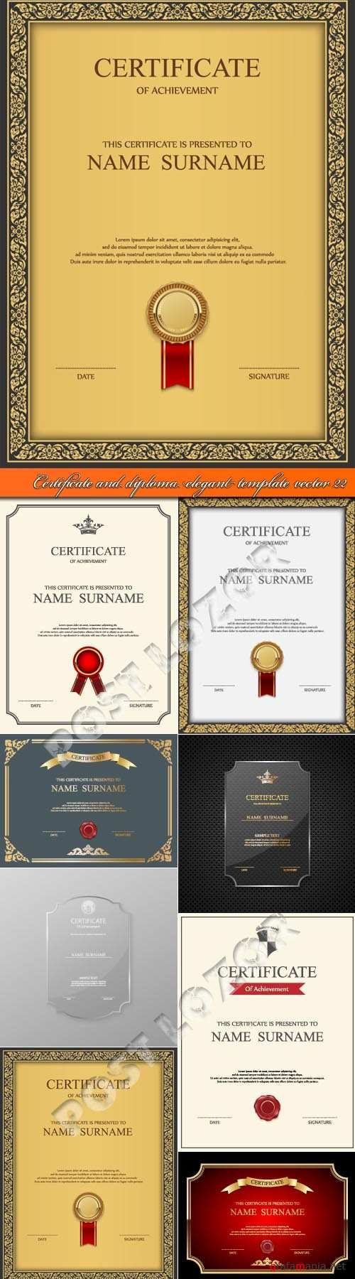 Certificate and diploma elegant template vector 22