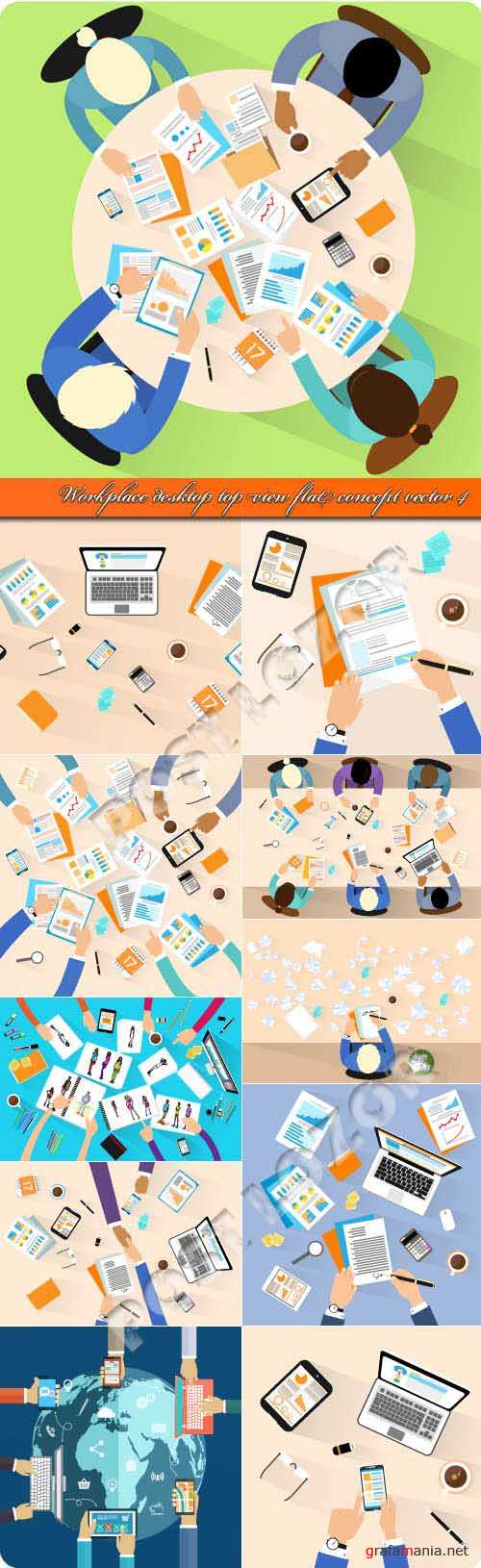Workplace desktop top view flat concept vector 4