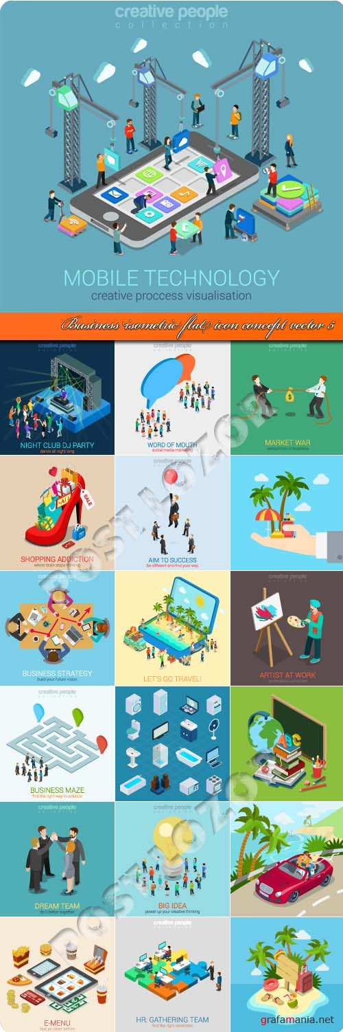 Business isometric flat icon concept vector 5