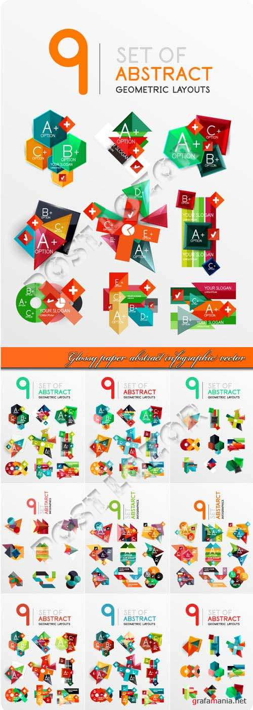 Glossy paper abstract infographic vector