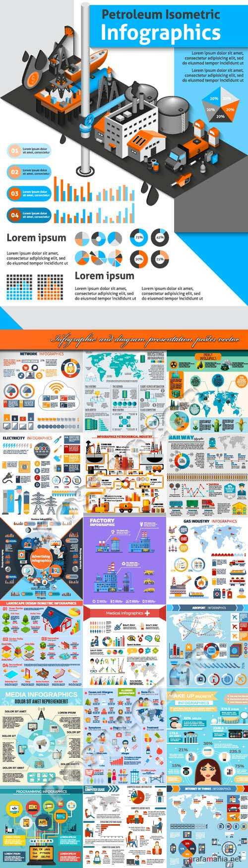 Infographic and diagram presentation poster vector