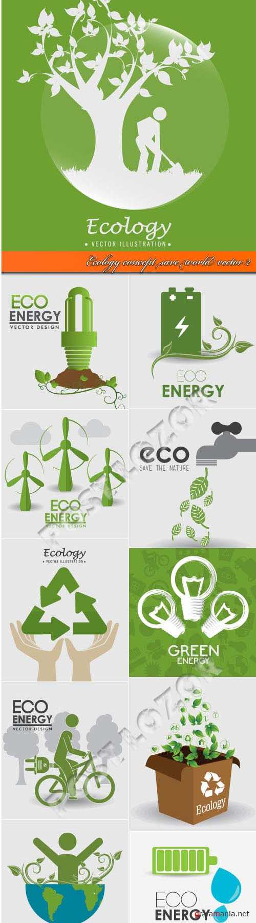 Ecology concept save world vector 2