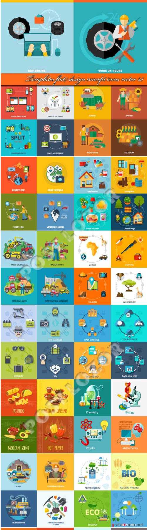 Templates flat design concept icons vector 25