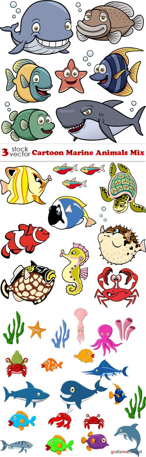 Vectors - Cartoon Marine Animals Mix