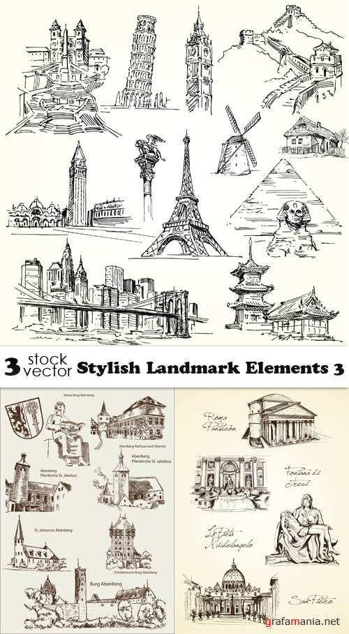 Vectors - Stylish Landmark Elements 3