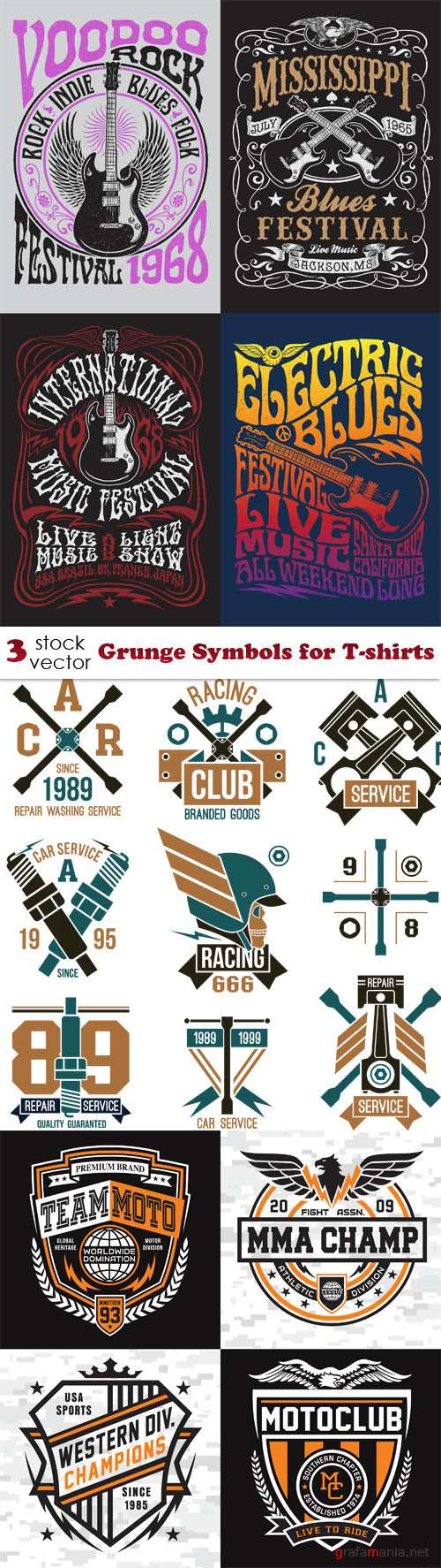 Vectors - Grunge Symbols for T-shirts
