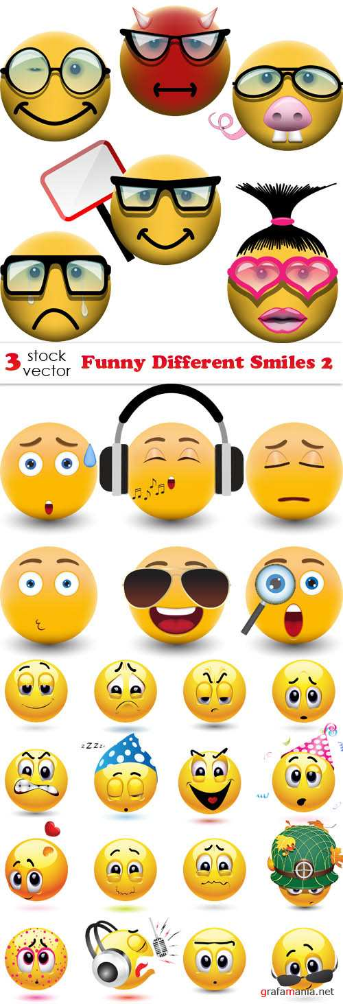 Vectors - Funny Different Smiles 2