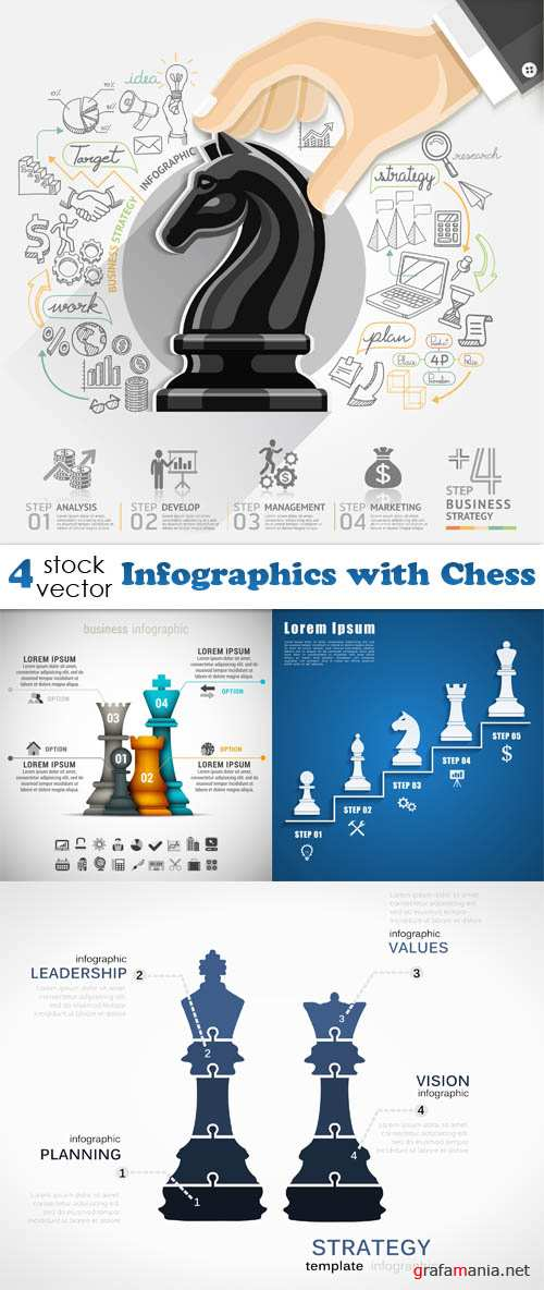 Grafamania.net Версия для печати Vectors - Infographics with Chess.