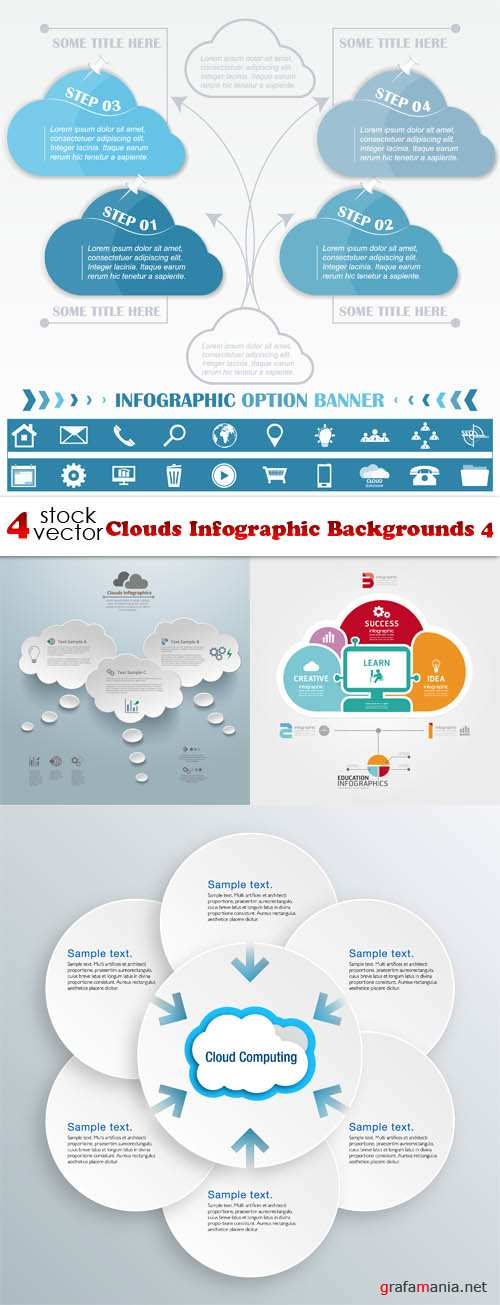 Vectors - Clouds Infographic Backgrounds 4