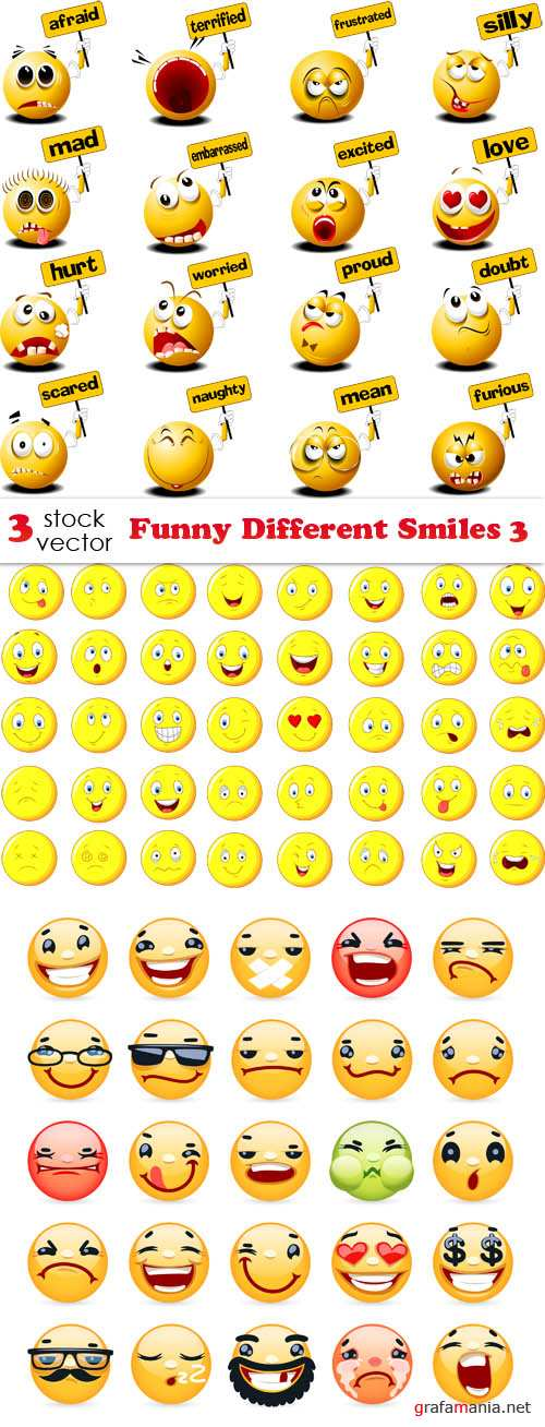 Vectors - Funny Different Smiles 3