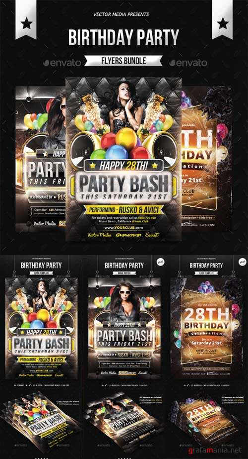Birthday Party - Flyers Bundle - 12755283