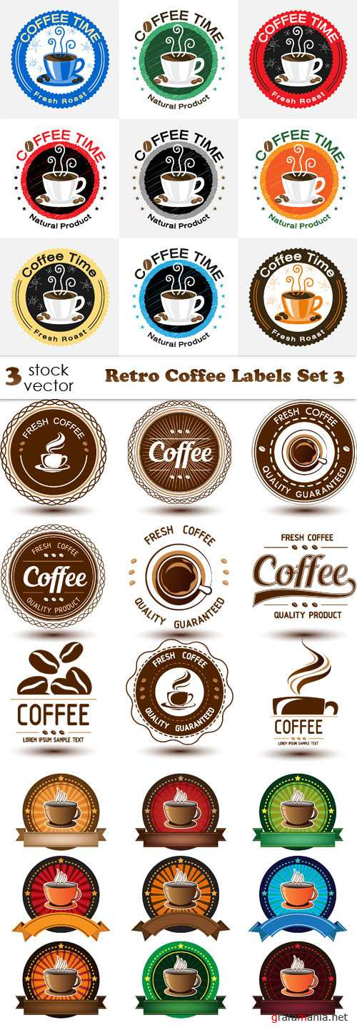 Vectors - Retro Coffee Labels Set 3