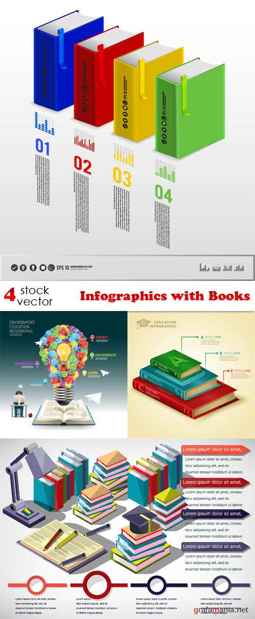 Vectors - Infographics with Books