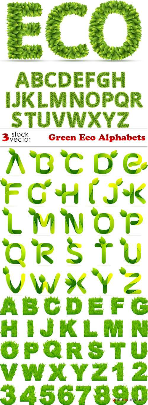 Vectors - Green Eco Alphabets