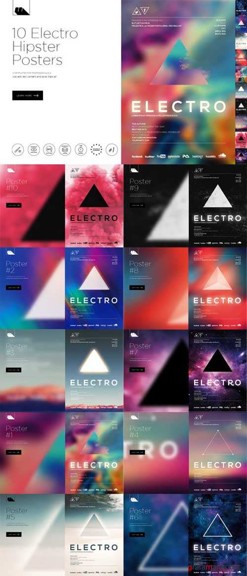Electro Hipster Party Posters - 515393