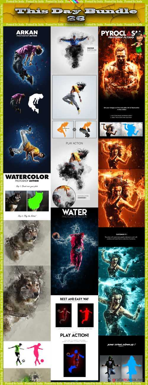 This Day Bundle 26 - Water, Watercolor, Smoke, Arkan Photoshop Actions