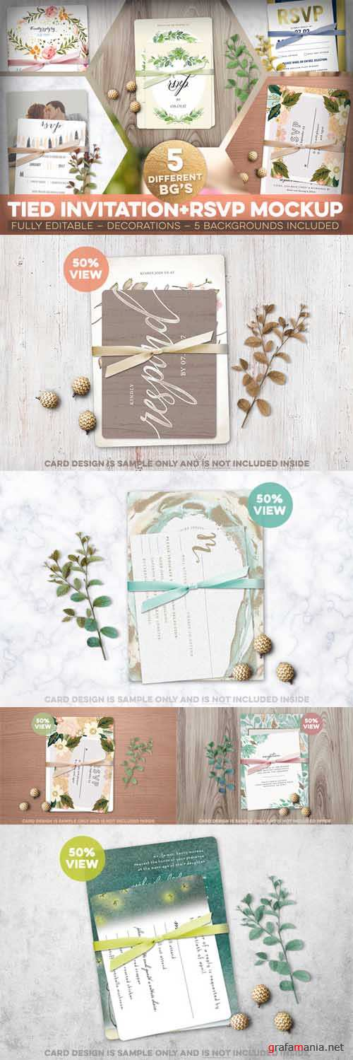 Tied Invitation+RSVP Mockup - 548387