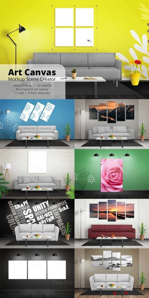 Art Canvas Mockup Scene Creator - 572359