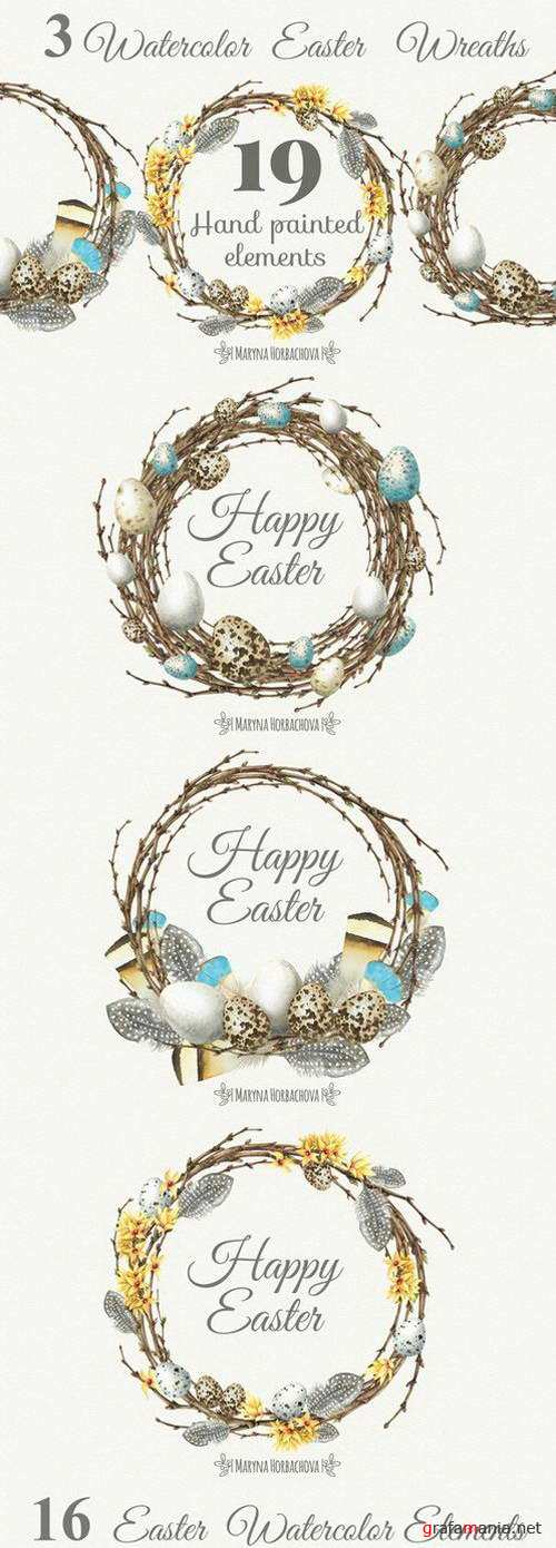 Watercolor Easter Wreaths - 567985