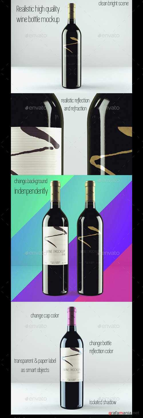 Realistic Red Wine Mockup - 15298461