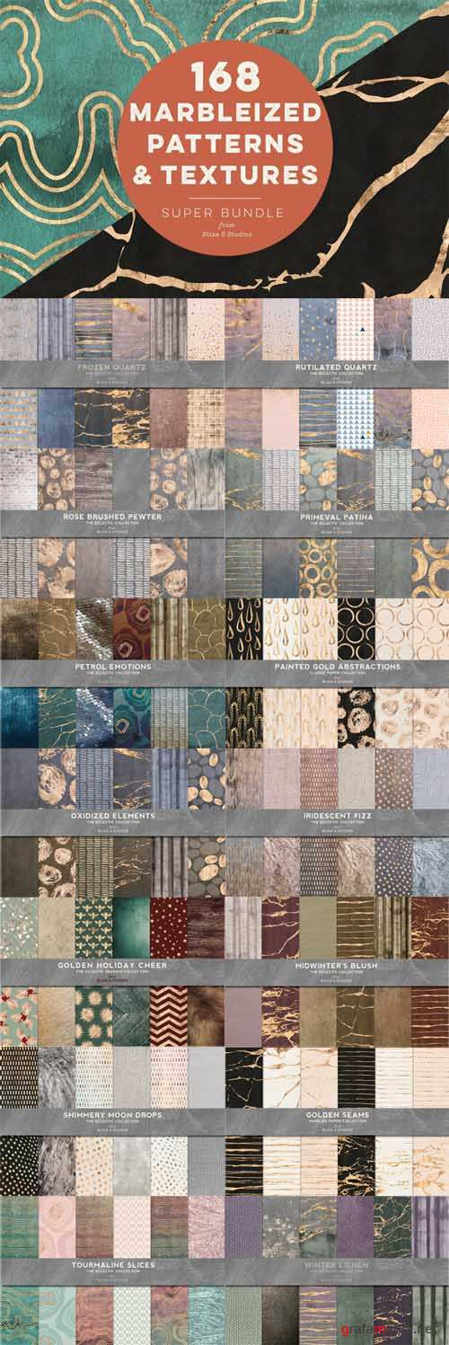 168 Marbleized Patterns & Textures - 575378