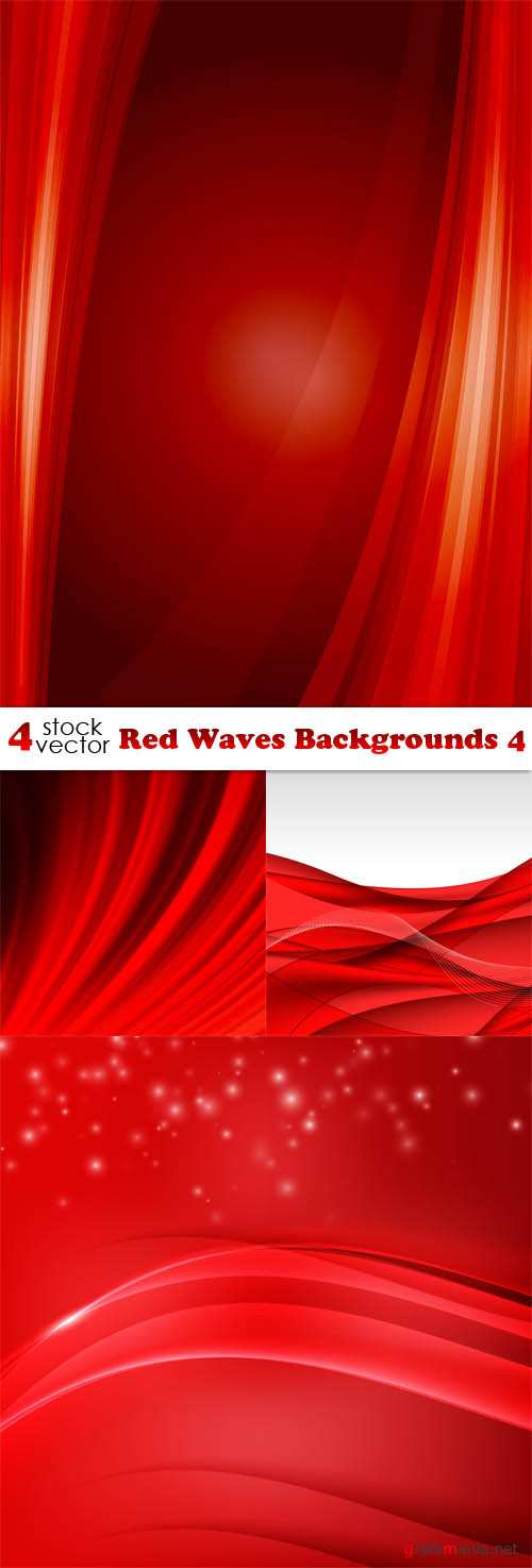 Vectors - Red Waves Backgrounds 4